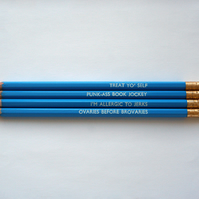 Blue Parks & Recreation Quotes Four Pencil Set