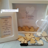 "Personalised Wedding drop box guest book 10x10"" 50 hearts, Mr&Mrs Mrs&Mrs Mr&Mr"