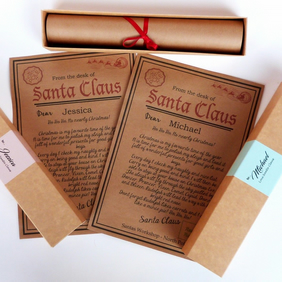 PERSONALISED LETTER FROM SANTA CLAUS FATHER CHRISTMAS IN SCROLL BOX ANY NAME