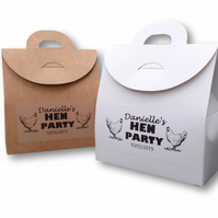 PERSONALISED BOX HEN DO PARTY BAG CUSTOM FAVOUR WEDDING HEN GIFT PARTY