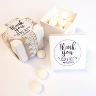 20 x 2INCH WHITE WEDDING FAVOUR BOX WITH PERSONALISED STICKERS, LABELS THANK YOU