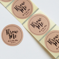 45MM CUSTOM ROUND PERSONALISED BROWN KRAFT THROW ME CONFETTI LABELS STICKERS