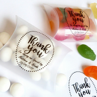 20 x CLEAR FAVOUR PILLOW BOXES PERSONALISED WEDDING THANK YOU STICKERS FAVOUR
