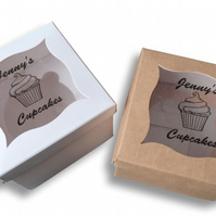 10 x CUSTOM BROWN KRAFT WHITE WEDDING CUPCAKE BOXES FAVOUR PERSONALISED WINDOW
