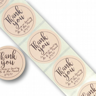 45MM CUSTOM ROUND PERSONALISED BROWN KRAFT THANK YOU WEDDING LABELS STICKERS