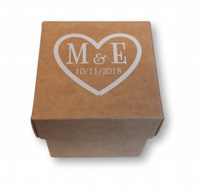 50 x CUSTOM CLEAR STICKERS PERSONALISED WHITE HEART INITIALS WEDDING FAVOUR  INV