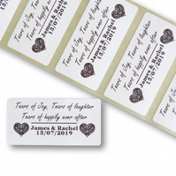 100 25MMX50MM PERSONALISED TEARS OF JOY TISSUE WEDDING STICKERS LABELS