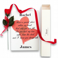 Valentines day personalised love poem in scroll box rose and ribbon