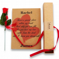 kraft brown valentines day love poem scroll in box with ribbon and rose
