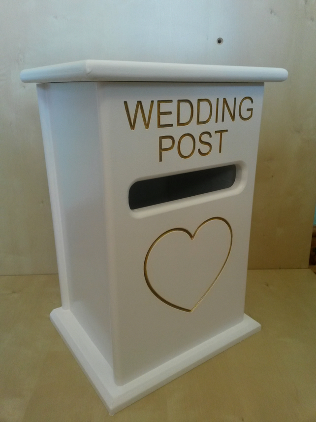 personalised handmade wooden WEDDING POST BOX card holder fully assembled