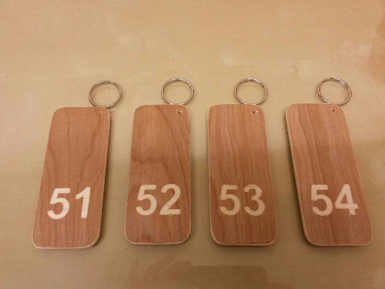 hotel room key caravan business door extra LARGE WOODEN KEYRING personalised