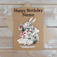 Alice In Wonderland - Mad Hatter & White Rabbit - Birthday Cards - Personalised