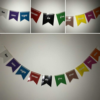Learning numbers and colours with Paper Bunting