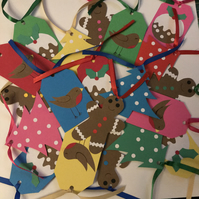 Christmas gift tags (pack of 10), puddings, gingerbread men, robins, trees
