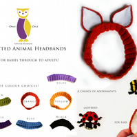 Knitted Baby and Children's Animal Headbands