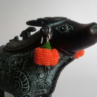 Crocheted Halloween pumpkin earrings