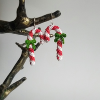 Crocheted candy cane earrings