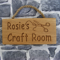 Personalised Engraved Rustic Oak Wooden Craft Room Door Wall Plaque  Mothers Day
