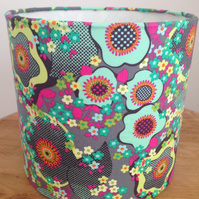 Drum Lampshade in a Beautiful Contemporary Multicoloured Fabric