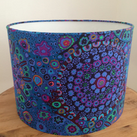 Handmade Drum Lampshade in a Blue Flower Pattern