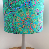 Handmade Drum Lampshade in a Vibrant Green Fabric
