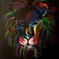 Acrylic paint Lion