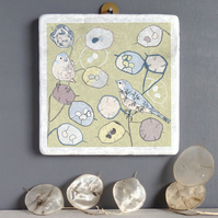 Honesty And Bird Design Marble Wall Art