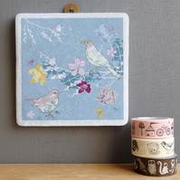 Blackbirds and Blossom Marble Wall Art