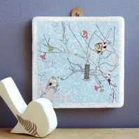 Birds in Rowan Tree Marble Wall Art