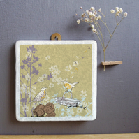 Songthrush and Trug Marble Wall Art