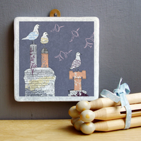 Seagulls and Chimney Pots Marble Wall Art