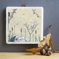 Willow Warbler Marble Wall Art