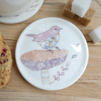 Bone china blackbird on mushroom coaster