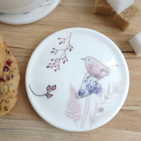 Bone china wren and mushroom coaster