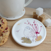 Bone china chaffinch and leaves coaster