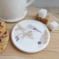 Bone china coal tit on branch coaster