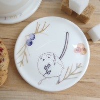 Bone china long tail and berries coaster