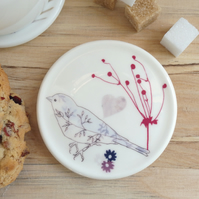 Bone china chaffinch and heart coaster