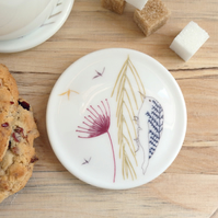 Bone china treecreeper coaster