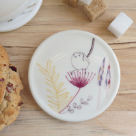 Bone china long tail on seed head coaster