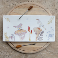 bone china blackbird trinket tray