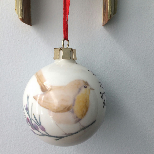 Fine Bone China Robin Christmas Bauble