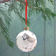 Fine Bone China Winter Bird Christmas Bauble