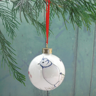 Fine Bone China Crested tit Christmas Bauble