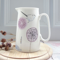 Bone china, two pint Jug - Dandelion design