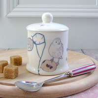 Bone china jam pot or sugar bowl - chaffinch design