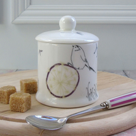 Bone china jam pot or sugar bowl -Dandelion design