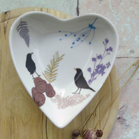 Bone china Heart trinket Dish