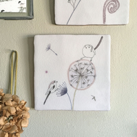 Dandelion Clock Design Ceramic Tile Wall Art