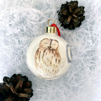 Fine Bone China Tawny Owl Christmas Bauble